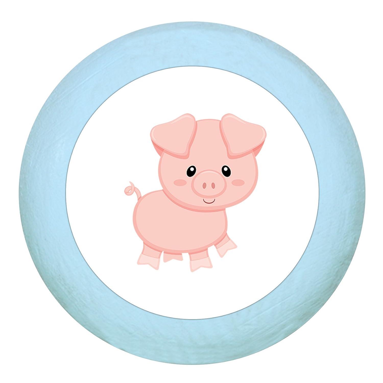 Tü rknauf'Schwein' dunkelblau Holz Kinder Kinderzimmer 1 Stü ck Bauernhoftiere Traum Kind