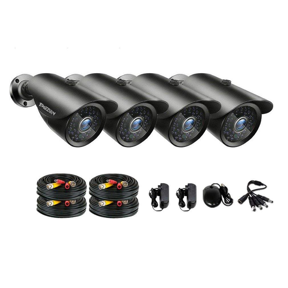 TMEZON AHD監視カメラ4台 200万画素 赤外線LED42個 3.6MM固定レンズ&ケーブルセット(ブラウン) B01LVY1KI4 3.6MM固定レンズカメラセット|カメラ4台+18.3M BNCケーブル カメラ4台+18.3M BNCケーブル 3.6MM固定レンズカメラセット