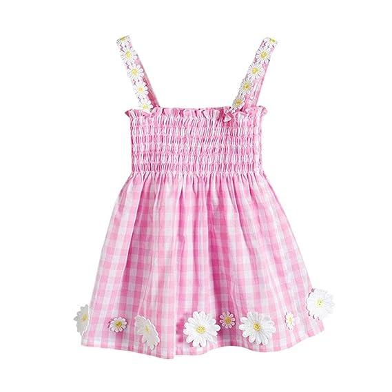 DRESS_start Vestido Para niñas Vestidos De Sin Manga Primavera Verano sin mangas enrejado flores Imprimir Mini