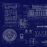 Framed Replica Old Yankee Stadium Blueprint with Dirt Capsule (20x32 Cherry Frame)