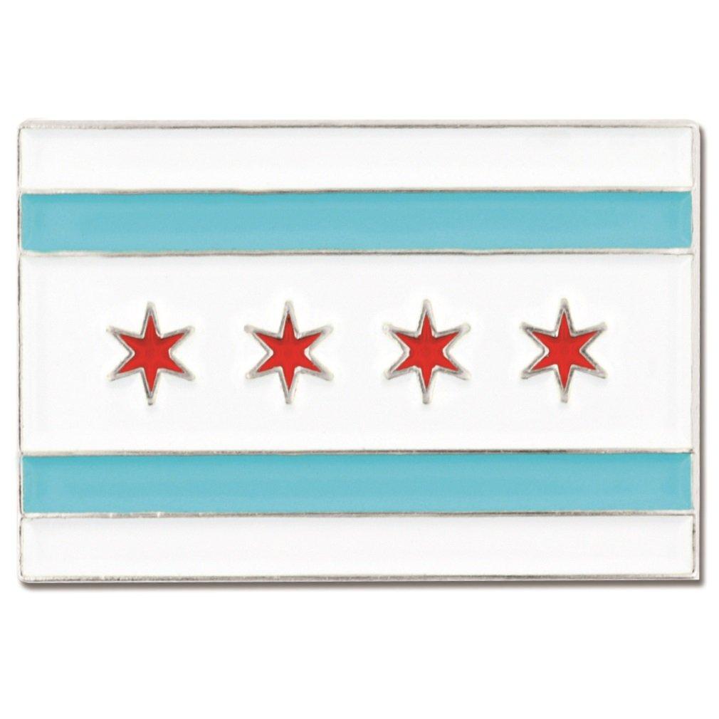 PinMart's Rectangle City of Chicago Flag Enamel Lapel Pin