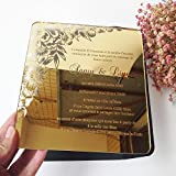 100pcs per lot Beautiful flower 7*7inch square shape laser engraving letters golden mirror acrylic wedding invitation card