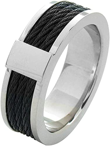 Plated with Wire Inlay Ring Size 10 Length Width 10 Stainless Steel Black IP