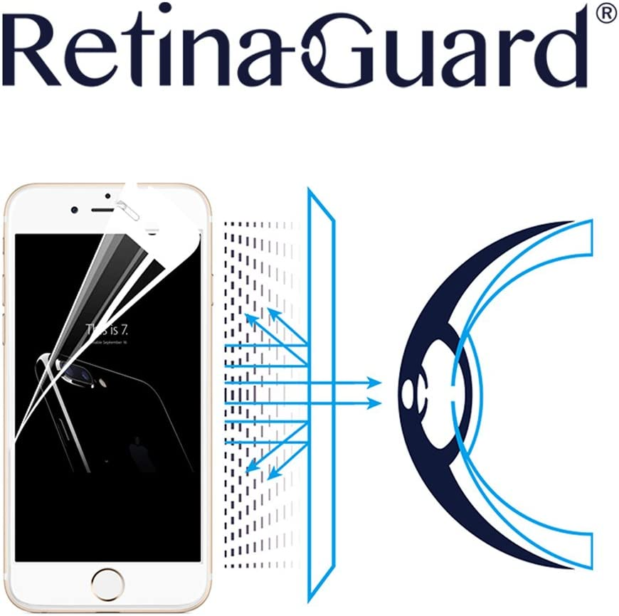 RetinaGuard Anti Blue Light Tempered Glass Screen Protector for iPhone 7, SGS and Intertek Tested, Blocks Excessive Harmful Blue Light, Reduce Eye Fatigue and Eye Strain (White Border)