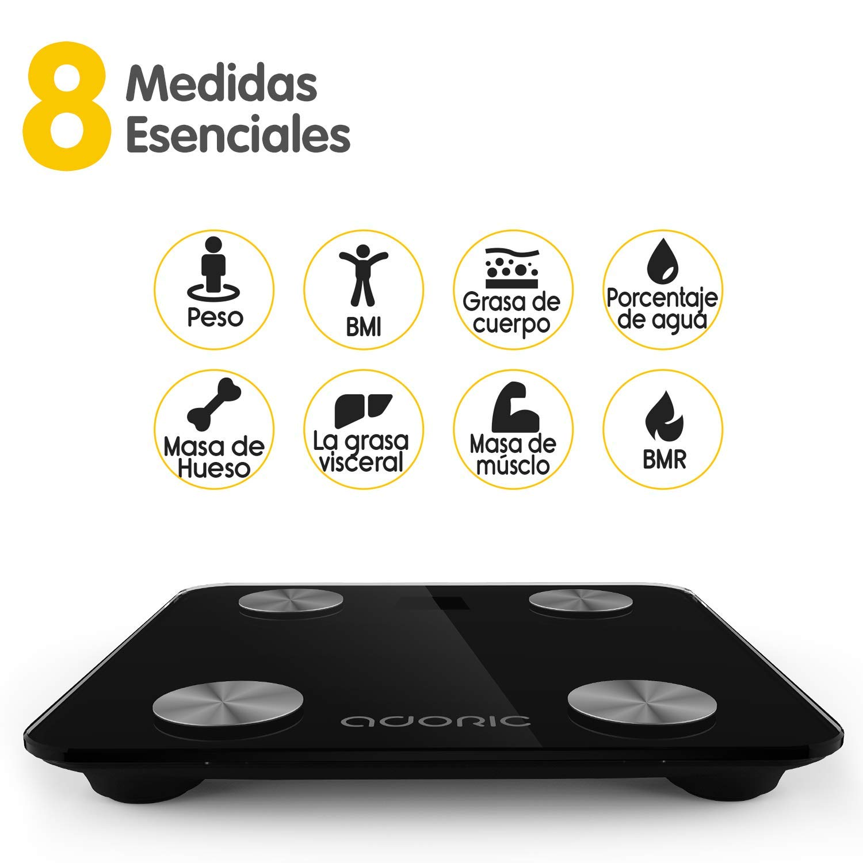 Báscula Grasa Corporal Báscula de Baño Bluetooth Analizar Más de 8 Funciones, Monitores de Composición Corporal Andriod Arriba 5.0y iOS: Amazon.es: Salud y ...