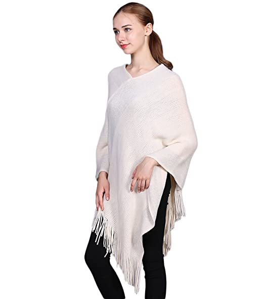 3e015377bf9c31 Womens Knitted Poncho Tops Shawl Cape Batwing Blouse with Fringed Sides for  Lady (Beige) at Amazon Women's Clothing store: