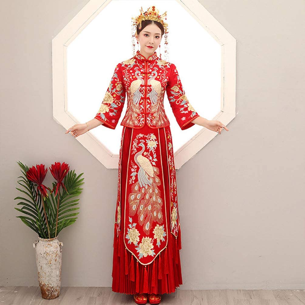 Amazon Com Ghkj Retro Peacock Cheongsam Wedding Dress Traditional Chinese Wedding Dress Retro Cuff Pattern Suitable For Wedding Or Engagement Occasions Xxl Home Kitchen