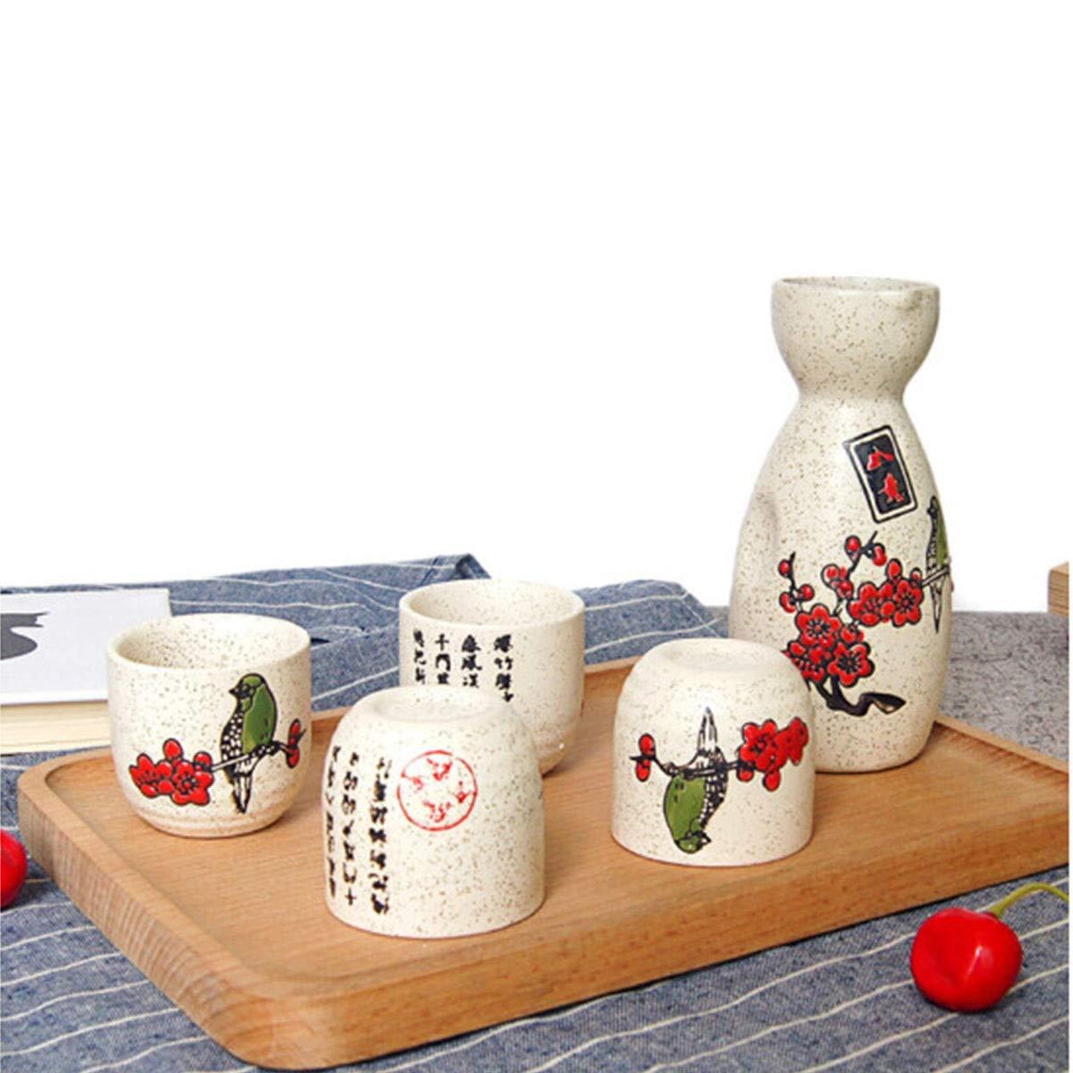 Wine Glass Wine Wine Sake Pot Hip Flask Japanese Sake Cup Beaker Sake Jug Bird Set Fashion Wine MINGSHENGWANGLUO Flagon 5 Piece Gift Box Home kitchen Wine Household Liquor Ceramic