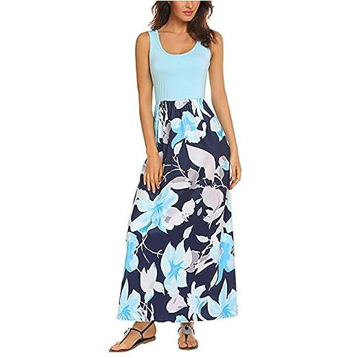 c4999d7f12d AMOFINY Women s Tops Dresses Summer Boho Sleeveless Floral Print Tank  Sundrss Beach Long Maxi Dress Blue