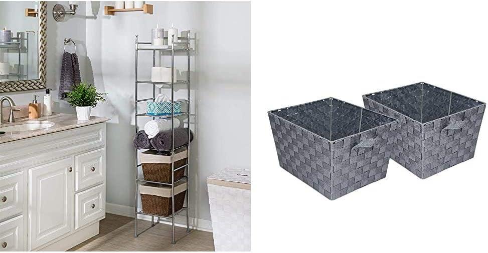 "Honey-Can-Do BTH-03484 6 Tier Metal Tower Bathroom Shelf, 12.6"" L x 11"" W x 59.8"" H, Chrome & STO-05088 Woven Baskets, Gray, 2-Pack"