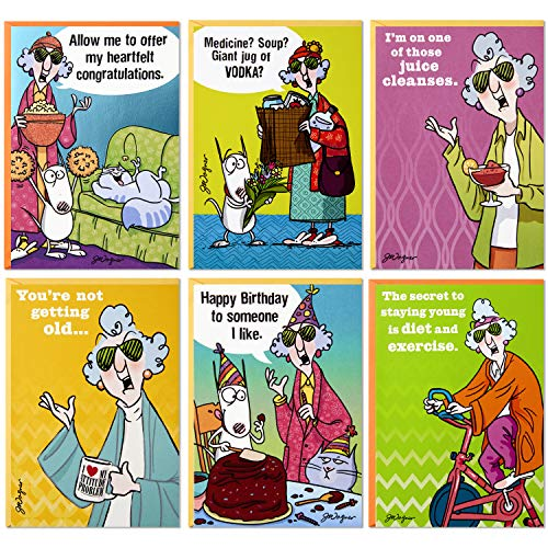 Hallmark Shoebox Maxine All Occasions Card Assortment (6 Cards with Envelopes)
