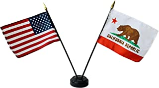 product image for Set of 6 4x6 E-Gloss California Stick Flag w/U.S. Stick Flag & 2 Flag Plastic Table Base