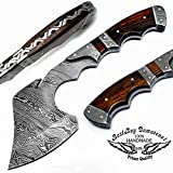 Rose Wood 9.9' Fixed Blade Custom Handmade Damascus Steel Hunting Axe with Damascus Steel Spacers Unique File Work On The Handel A Piece of Craftsmanship 100% Prime Quality