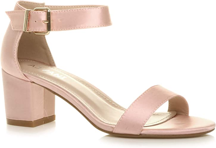 Womens Pink Peep Toe Buckle Low Wedge Sandals Mid Heels Summer Shoes Sizes 3-8