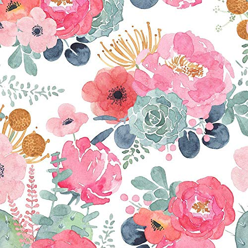 Peel and Stick Wallpaper Floral 17.7'' x 236'' Removable Girls Cactus Vinyl Temporary White Pink Girly Flower Contact-Paper for Countertops Cabinet and Wall Decor