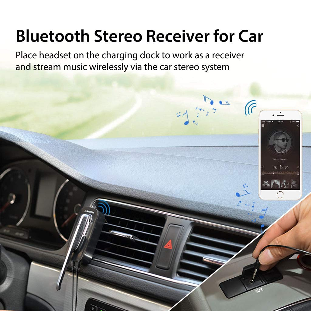 Avantree Handsfree Wireless Headset & Car Bluetooth Receiver 2-in-1, Hands Free Earpiece with Extended Mic for Clear Calling, aptX Wireless Audio Music Adapter with 3.5mm Aux for Car Stereo - Ego by Avantree (Image #2)