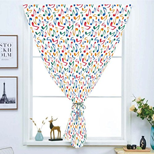Blackout Window Curtain,Free Punching Magic Stickers Curtain,Music,Cute Musical Notes Melody Kids Beats Watercolor Radio Rhythm Vibes Artful Design Decorative,Multicolor,Paste style,for Living Room
