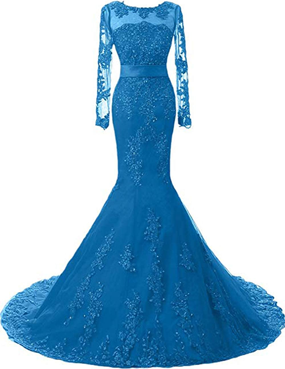 bluee Womens Mermaid Long Sleeves Lace Prom Dresses 2019 Appliques Beaded Evening Formal Gowns