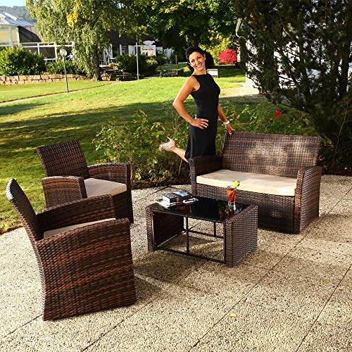 Leaptime Patio Sofa Outdoor Rattan Couch Garden Conversation Set 4pcs Deck Furniture with Love Seat and Coffee Table Brown Wicker Beige Cushion Review