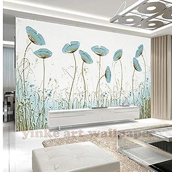 Bzdhwwh Nordeuropa Stil Moderne 3d Fototapete Mintgrun Blume Wand