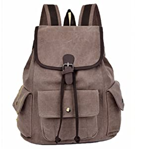 Prettybag Canvas Travel Backpack Hiking Rucksack School Bag Outdoors Sports Rucksack brown