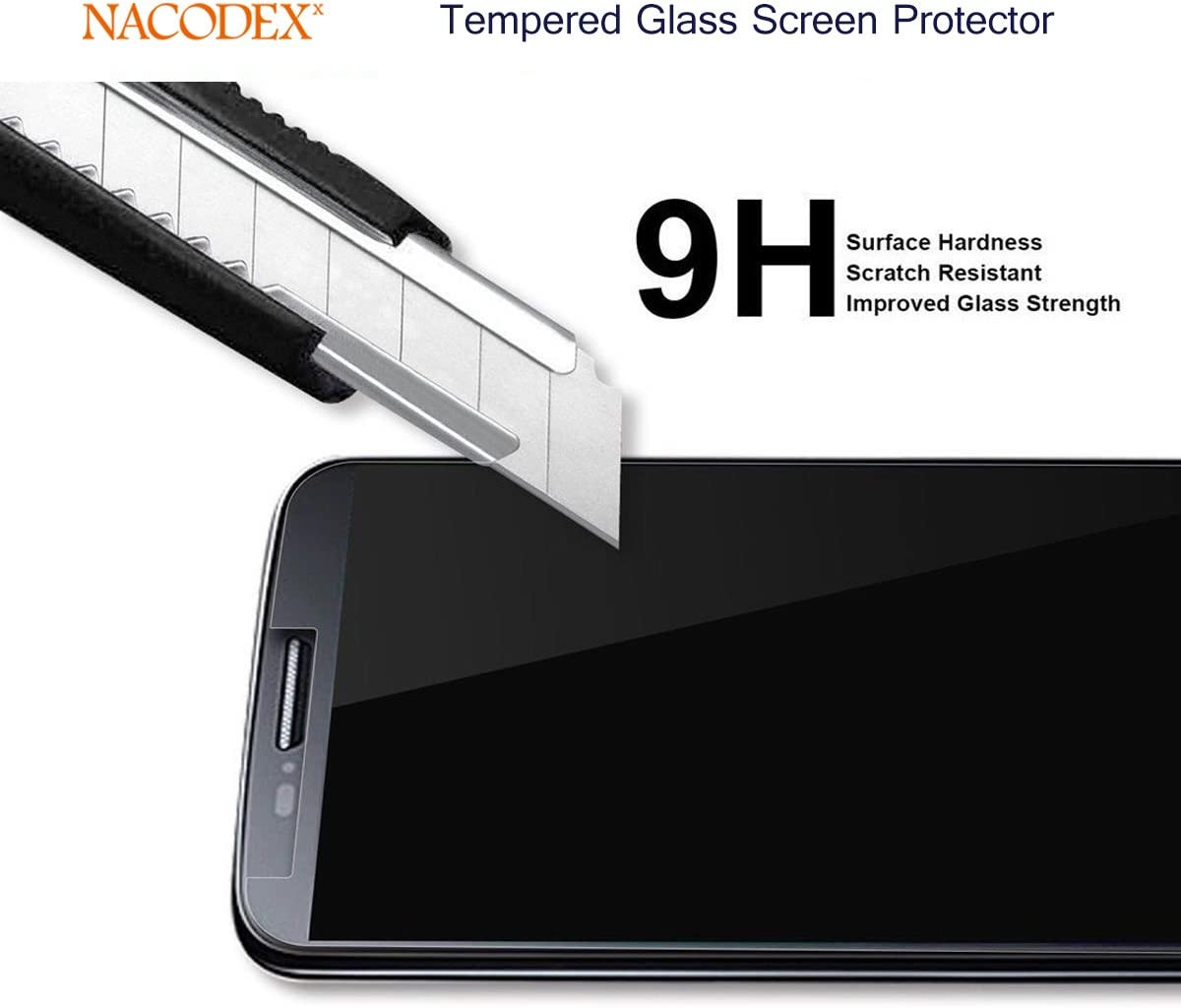 Black 5 Pack Anti Scratch Full Cover Nacodex for LG G8S ThinQ Tempered Glass Screen Protector, Bubble Free