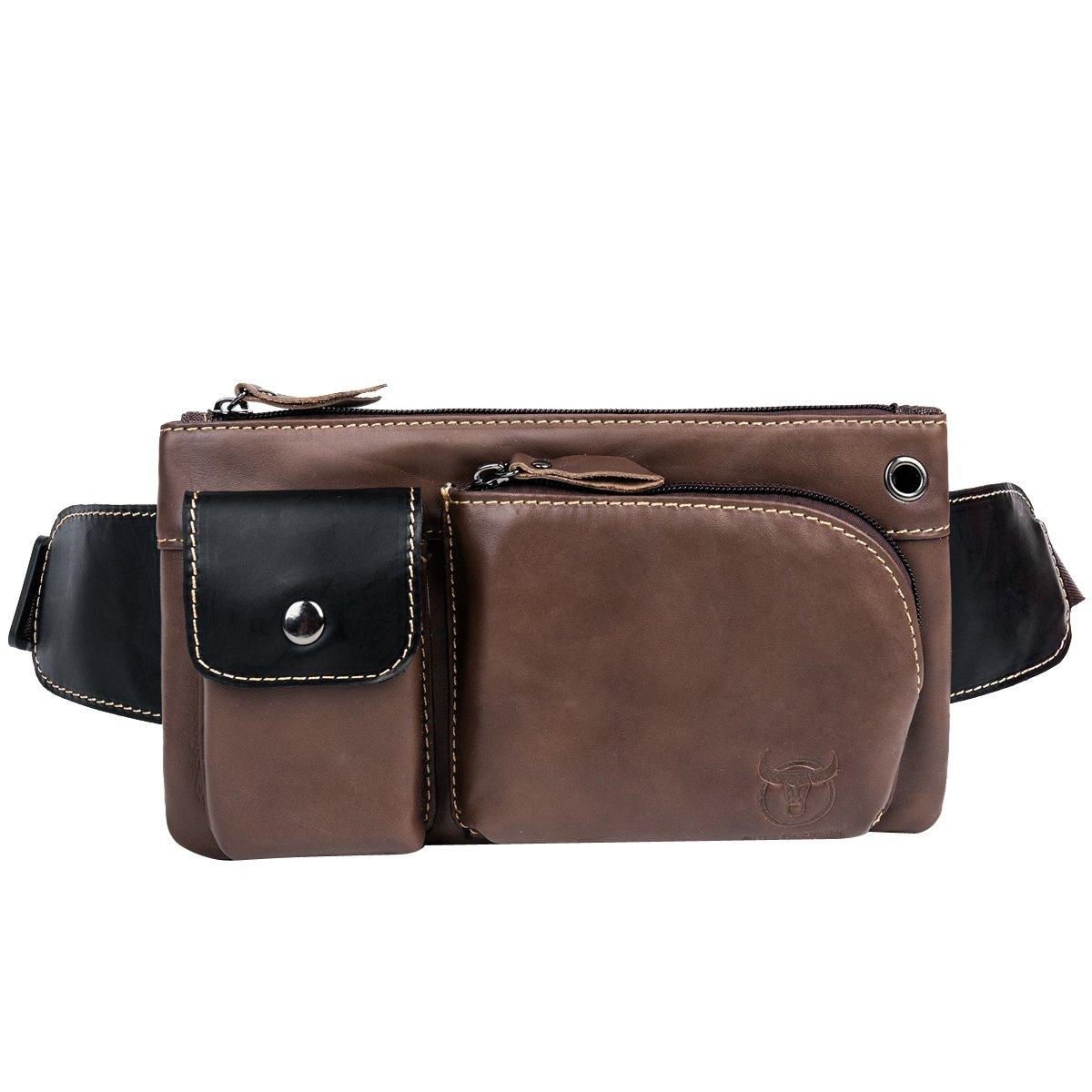 Leathario bolso bolsa riñonera diario y trabajo de cuero piel para hombres