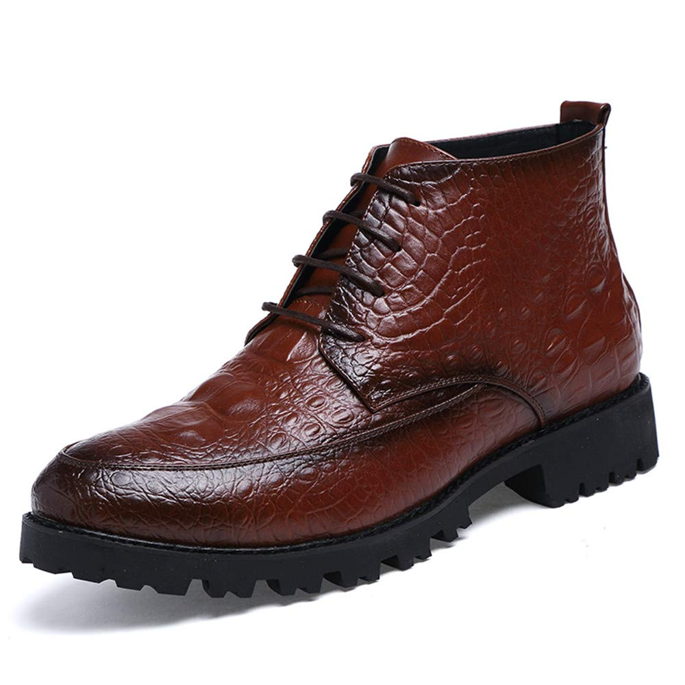 Hilotu Clearance Men's Ankle Boots Casual Fashion Avant-Garde Crocodile Tattoo Trend High-Top Formal Shoes (Color : Brown, Size : 9 D(M) US)