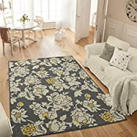Ottomanson Studio Collection Floral Design Area Rug, 50 X 60, Grey