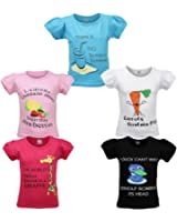 Goodway Girls Did you knowTheme Printed T-shirts Pack of 5 (JG5PCKDYK-1_Multicolour)