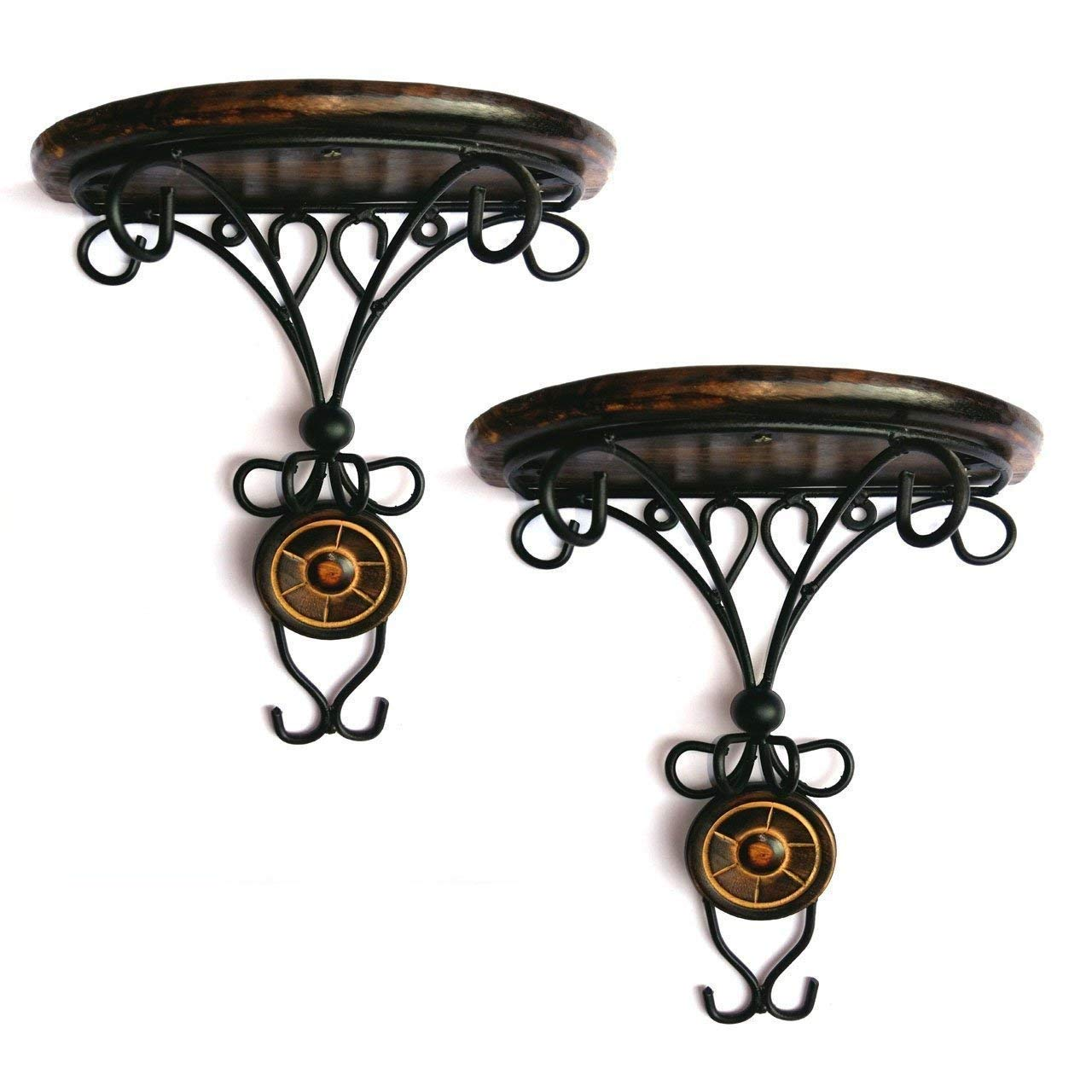 Wooden and Wrought Iron Wall Mounted Bracket