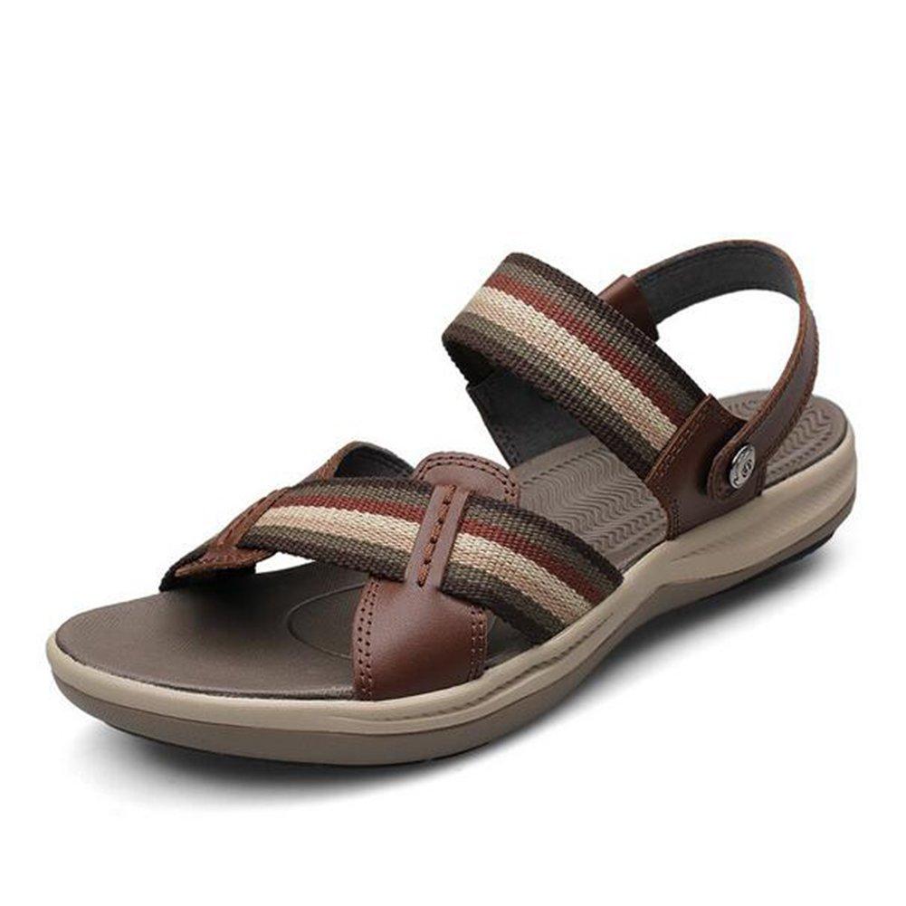 HUAN   Sandalen Herren Casual Schuhe Sommer Sandalen  Leder Strand Schuhe Flip Flop Hausschuhe Größe Braun 7b48f7