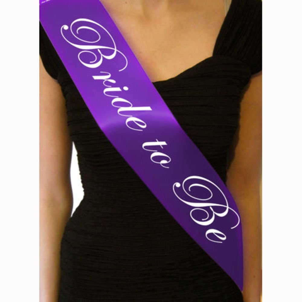 ORYOUGO Purple Bachelorette Party Bride To Be Satin Sash Bridal Shower Wedding Decorations Party Supply Accessory(Bride to be)