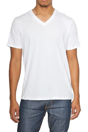 a8c42a09baac1 TheMogan Men's Essential 100% Cotton V-Neck Short Sleeve Tee Off White S