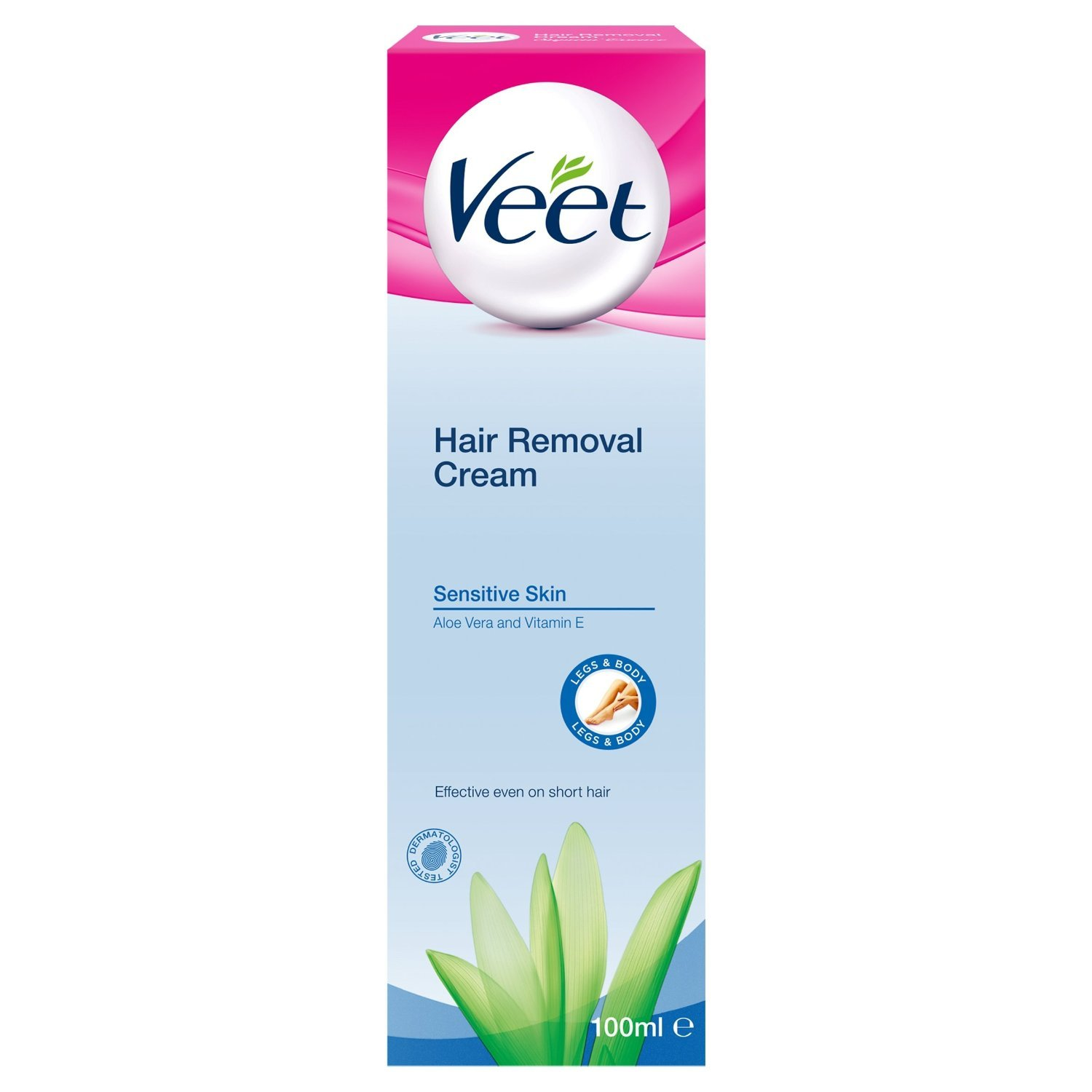 Veet Hair Removal Cream For Sensitive Skin With Aloe Vera & Vitamin E 100ml (2 Packs)