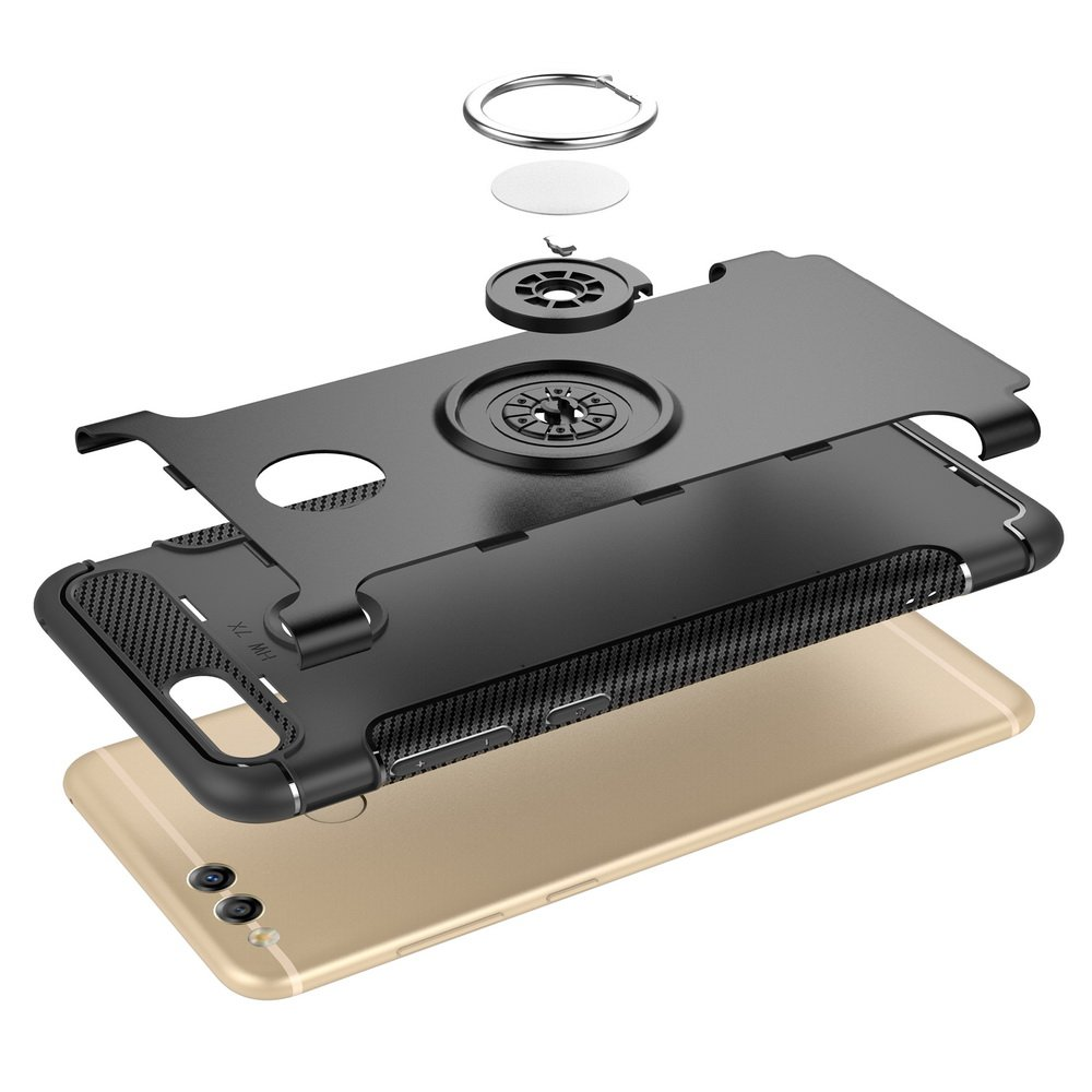 Black Mate SE Case DWaybox Hybrid Back Case Cover with 360 Degree Rotation Ring Holder for Huawei Honor 7X//Mate SE 5.93 Inch Compatible with Magnetic Car Mount Holder