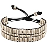 81stgeneration Bracelet ton argent Laiton Tube réglable ovale petite perle