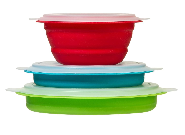 Prepworks by Progressive Collapsible Prep and Storage Bowls with Lids - Set of 3 Collapsible Bowls, Meal Prep Food Storage Microwave Safe, Freezer Safe, Dishwasher Safe