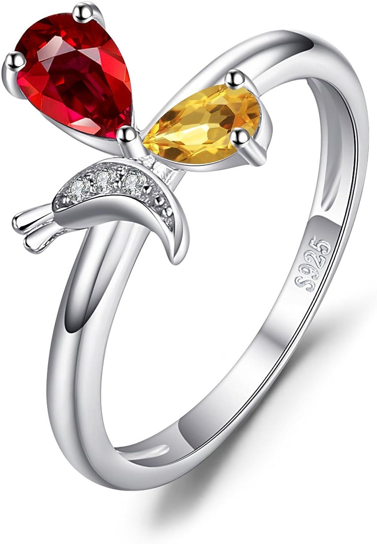JewelryPalace Anillo Mariposa 0.6ct Genuino Piedra Preciosa Granate Citrino Plata de ley 925