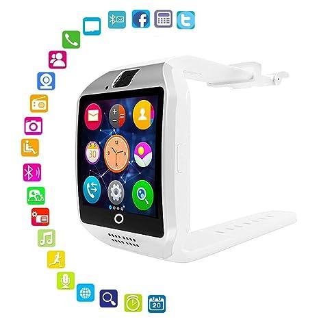 KOBWA - Reloj Inteligente Bluetooth con cámara, Pantalla táctil Q18 Smartwatch con Ranura para Tarjeta