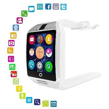Reloj Inteligente con cámara, Q18 Smartwatch Impermeable, Sport Smart Fitness Tracker, con Ranura de Tarjeta SIM, cámara, podómetro, para Android/iOS ...