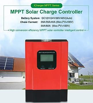 YAMEIJIA Controlador Solar 40A 60A 48V 36V Cargador Solar ...