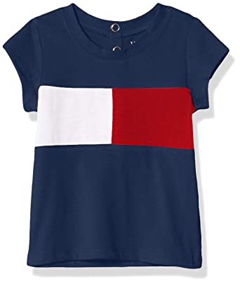 b44dafcadfbe51 Tommy Hilfiger Baby Big Girls' Core Crew Neck Tee Shirt, Flag Blue, ...
