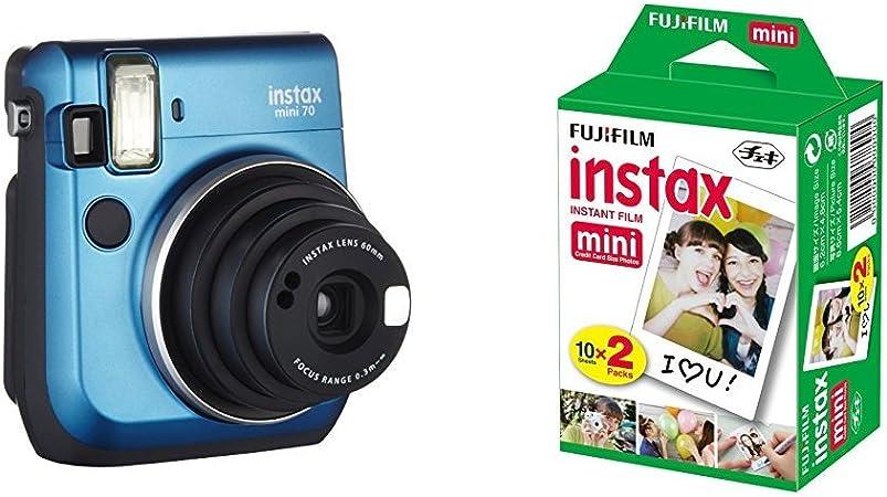 Fujifilm Instax Mini 70 - Cámara analógica instantánea (ISO 800, 0.37x, 60 mm, 1:12.7, flash automático, modo autorretrato, exposición automática, temporizador, modo macro), amarillo canario + 1 paquete de películas fotográficas instantáneas (10 hojas ...