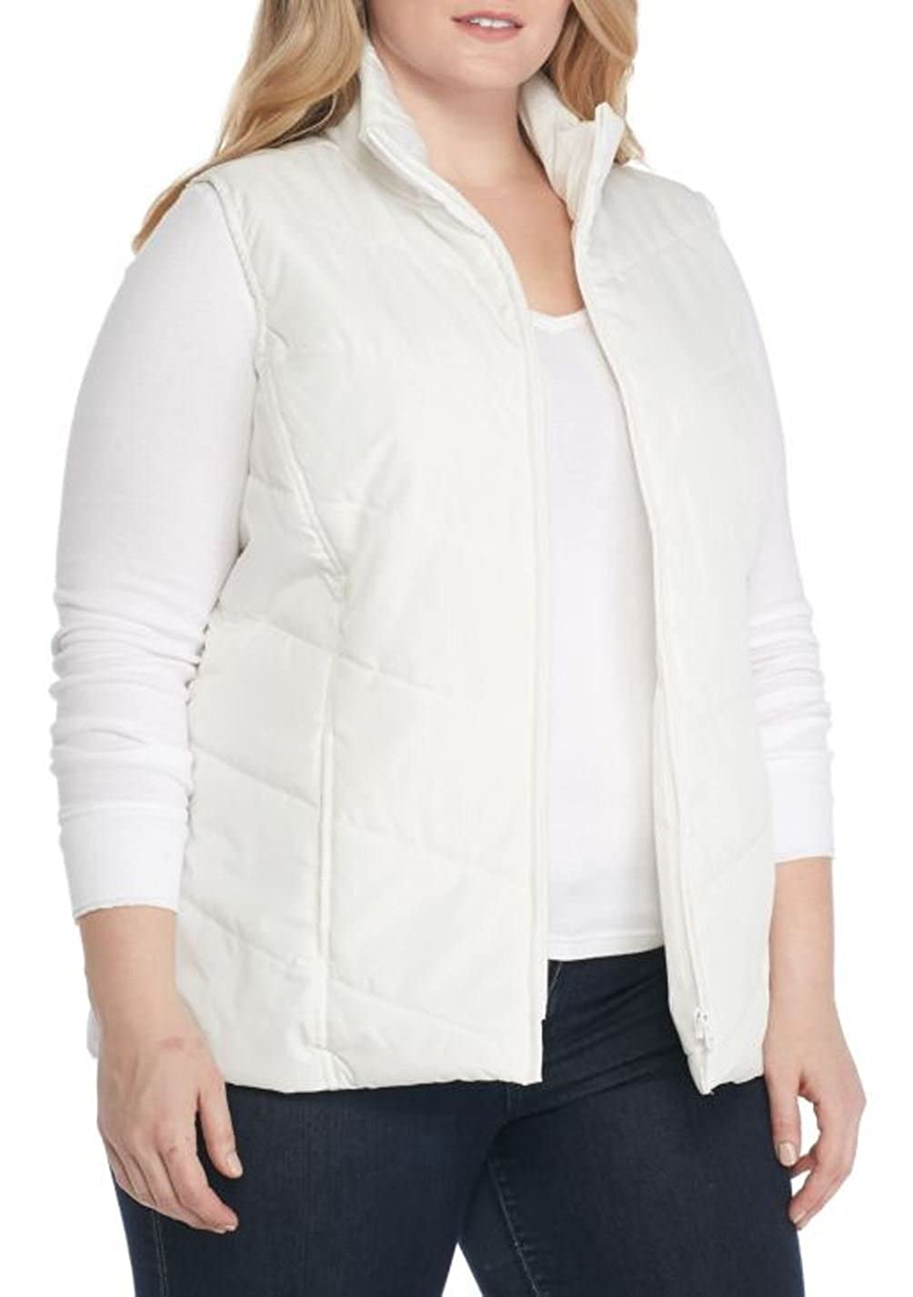 Kim Rogers Women's Plus Size Chevron Quilted Vest 1X)