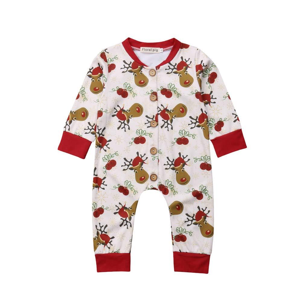 Newborn Baby Christmas Clothes,Infant Boy Girl Long Sleeve Elks ...