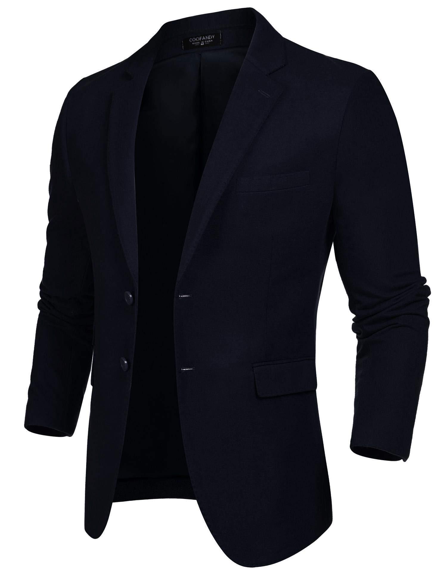 Coofandy Men's Elegant Regular Fit Two Button Slim Fit Suit Blazer Jacket,Blue,Large