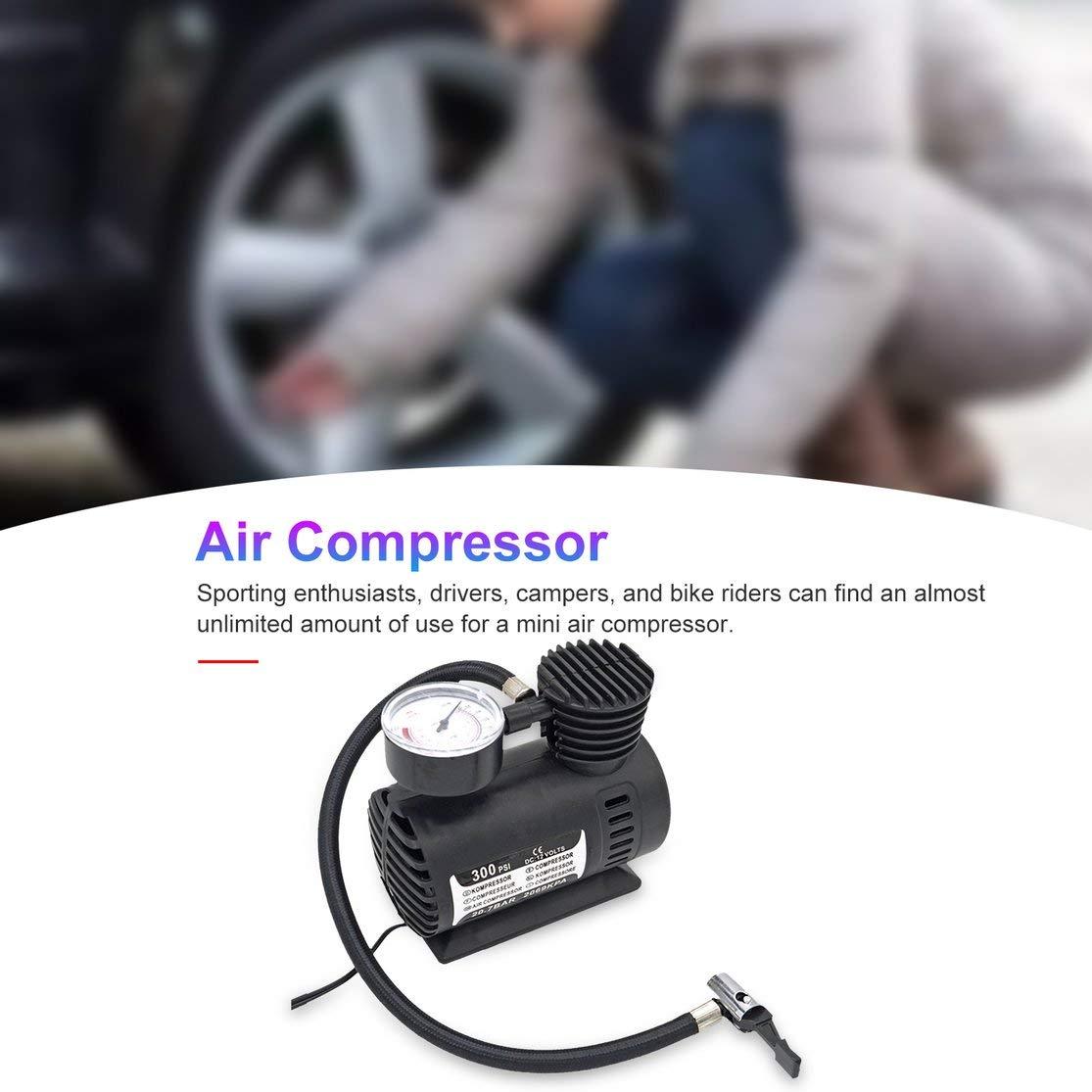 Candybarbar Mini Compresor de Aire Bomba el/éctrica ABS Automotriz Durable Veh/ículo Bomba de Aire 300 PSI Bomba de inflado de neum/áticos DC 12V Piezas de autom/óvil