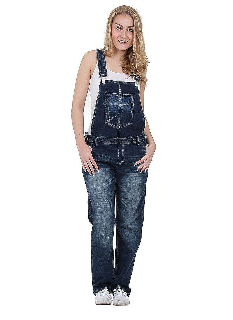 Crazy Lover Womens Indigo Denim Dungarees Denim Bib Overalls Playsuit WOMDE01 Size: 8 Colour: Blue