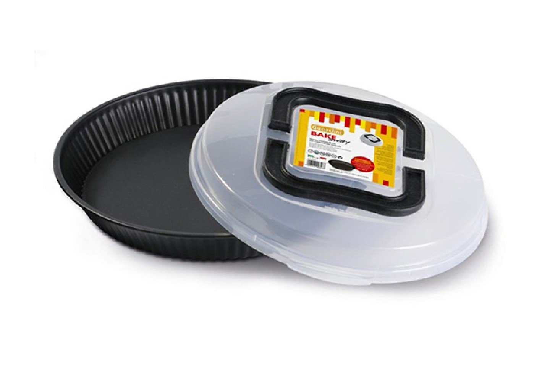 Guardini Molde Tartas con Tapa para Transportar Color Negro. Material: Acero con Revestimiento Antiadherente Bake Away